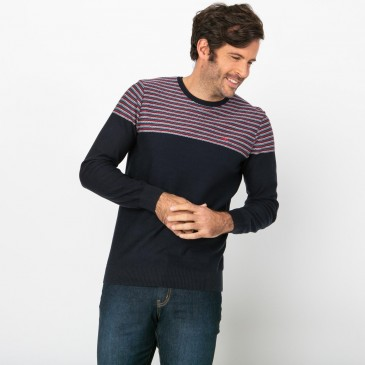 Pull Homme Jacquard Col Rond Marine LEPELRON