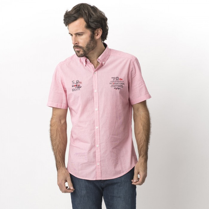 8bafc76b6cd576 Achat Chemise Rose Manches Courtes Homme - ZODCHEMI | TBS