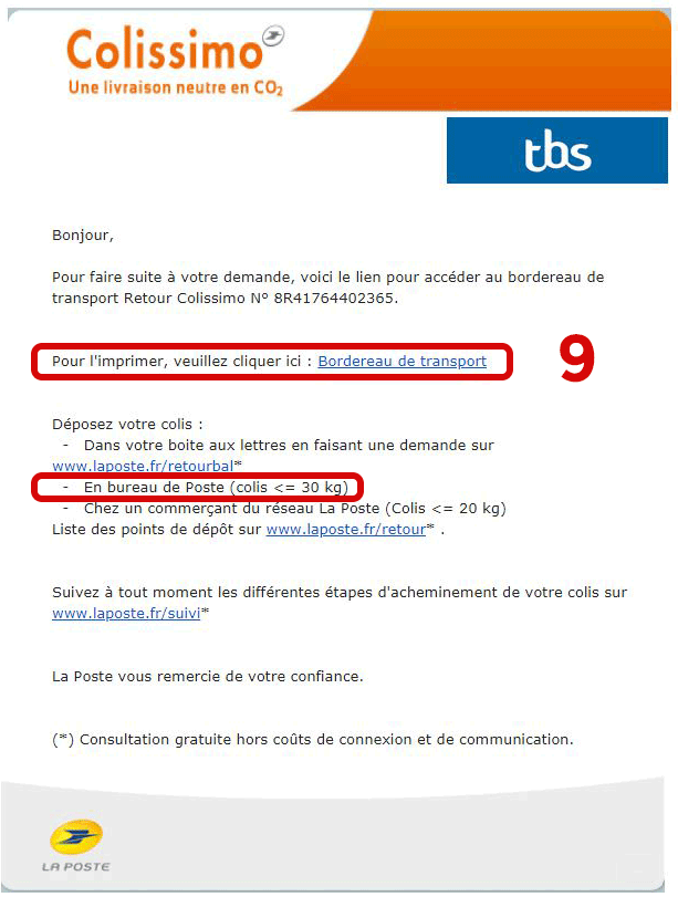 Email confirmation Colissimo